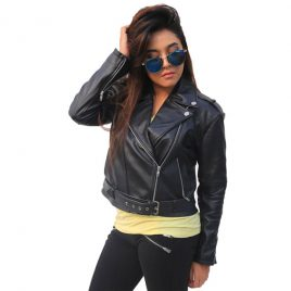 NW-07 BLACK CROPPED LADIES BIKER JACKET WITH BELT