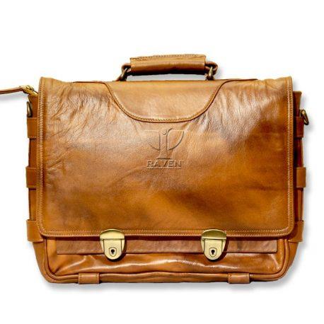 RAVEN-Brown-Medium-Messenger-bag-RMMB-02-Front-Side (1)