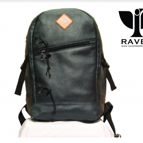 RAVEN-Leather-Backpack-from-Dhaka-Bangladesh-Navy-Blue-Color-front-Side