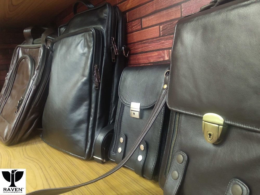 A display of finished product of Bangladesh Leather Goods Exporters