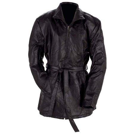 Black Ladies Leather Trench Coat