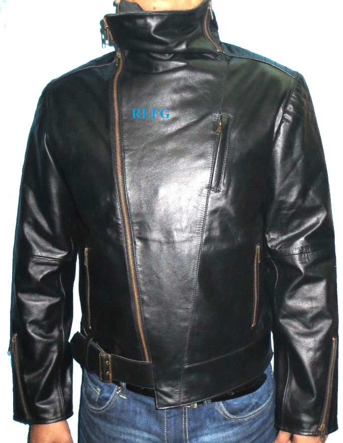 Black Leather Jacket Manufactured By Ramim Leather & Finished Goods Corporation