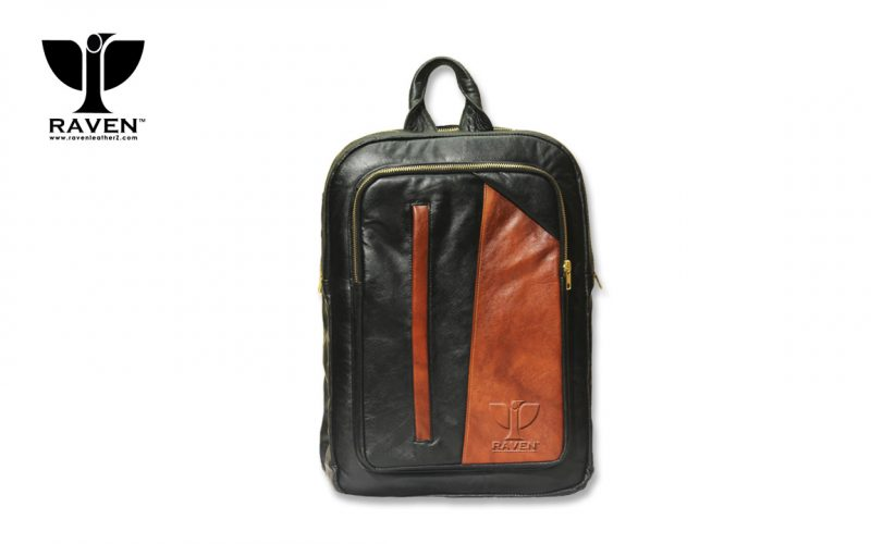 Duel Contrast Genuine Leather Backpack