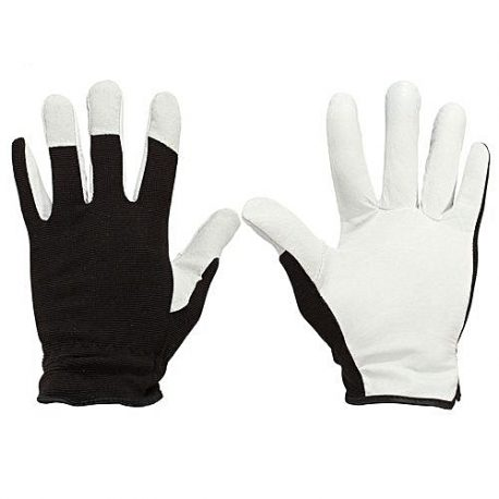 Black and White Contrast Suede Leather Working Gloves