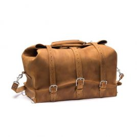 Base Color Suede Leather Duffel Bag