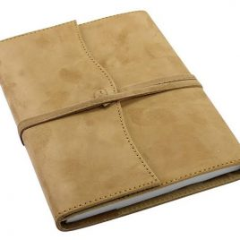 Beige Color Leather Dairy Cover