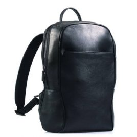 Black Stylish Plain Leather Backpack