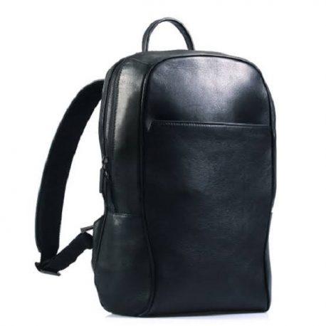 Black Stylish Plain Leather Backpack