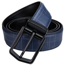 Blue Ambushed Pin Buckle Leather Belt