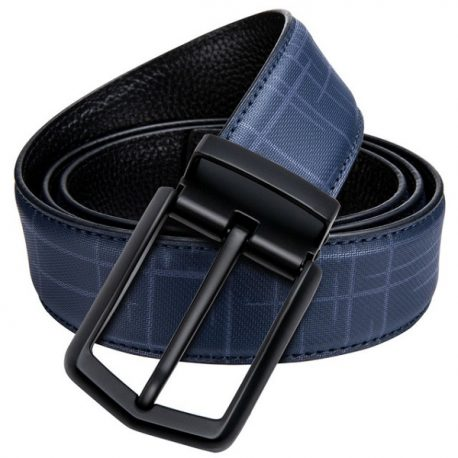 Blue Ambushed Pin Buckle Leather Belt
