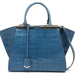 Blue Color Ambushed Ladies Hand Bag With Shoulder Strap