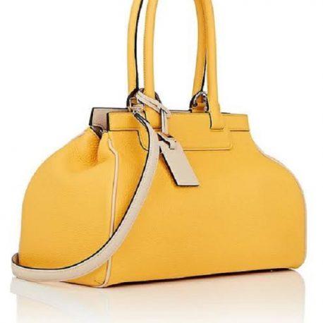 Bright Yellow Color Ladies Handbag With Shoulder Strap
