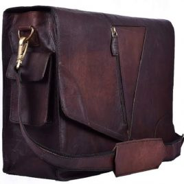 Crispy Dark Reddish Brown Medium Messenger Bag