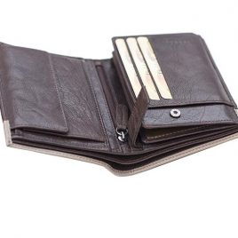 Dark Chocolate Color Bi Fold Leather Wallet