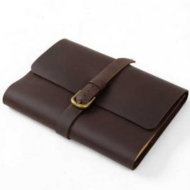Dark Vintage Chocolate Leather Dairy Cover