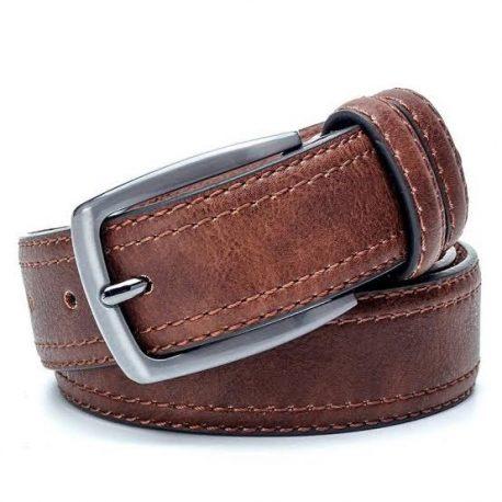Dark Vintage Tan Color Pin Buckle Leather Belt