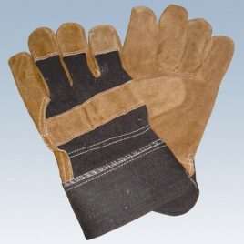Denim and Leather Contrast Cow-Split-Leather-working-gloves