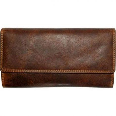 Duel Contrast Tri Fold Long Wallet