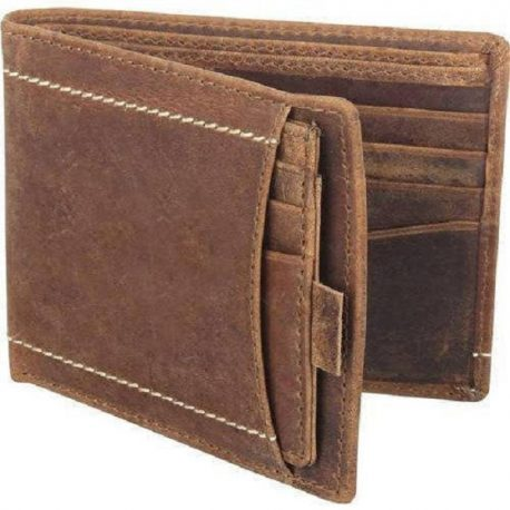 Duel Contrast Vintage Bi Fold Leather Wallet