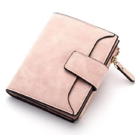 Light Pink Color Tri Fold Ladies Purse with Coin Pocket