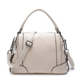 Off White Color Ladies Small Overnighter Handbag with Shoulder Strap