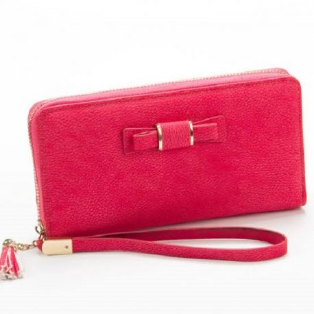 Reddish Pink Color Zip Closure Ladies Purse with Hand Carrying
