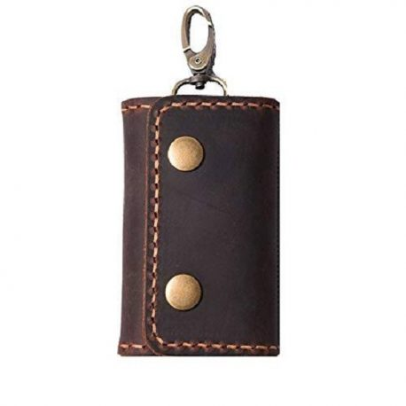 Reddish Shade Dark Chocolate Color Leather Key Case