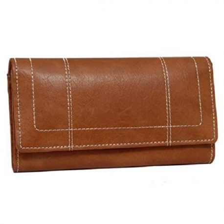 Stitching Upper Tri Fold Long Wallet