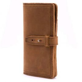 Suede Leather Buffalo Hide Tri Fold Long Wallet