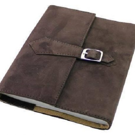 Suede Blackish Brown Leather Dairy Cover
