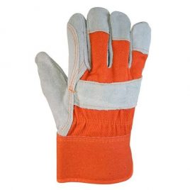 Suede and Fabric Mixed Working Gloves