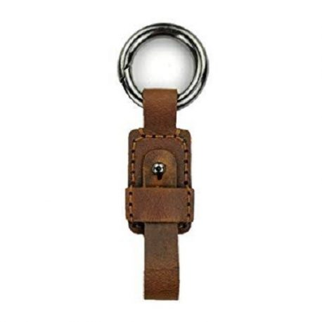 Vintage Shade Blackish Brown Leather Key Ring